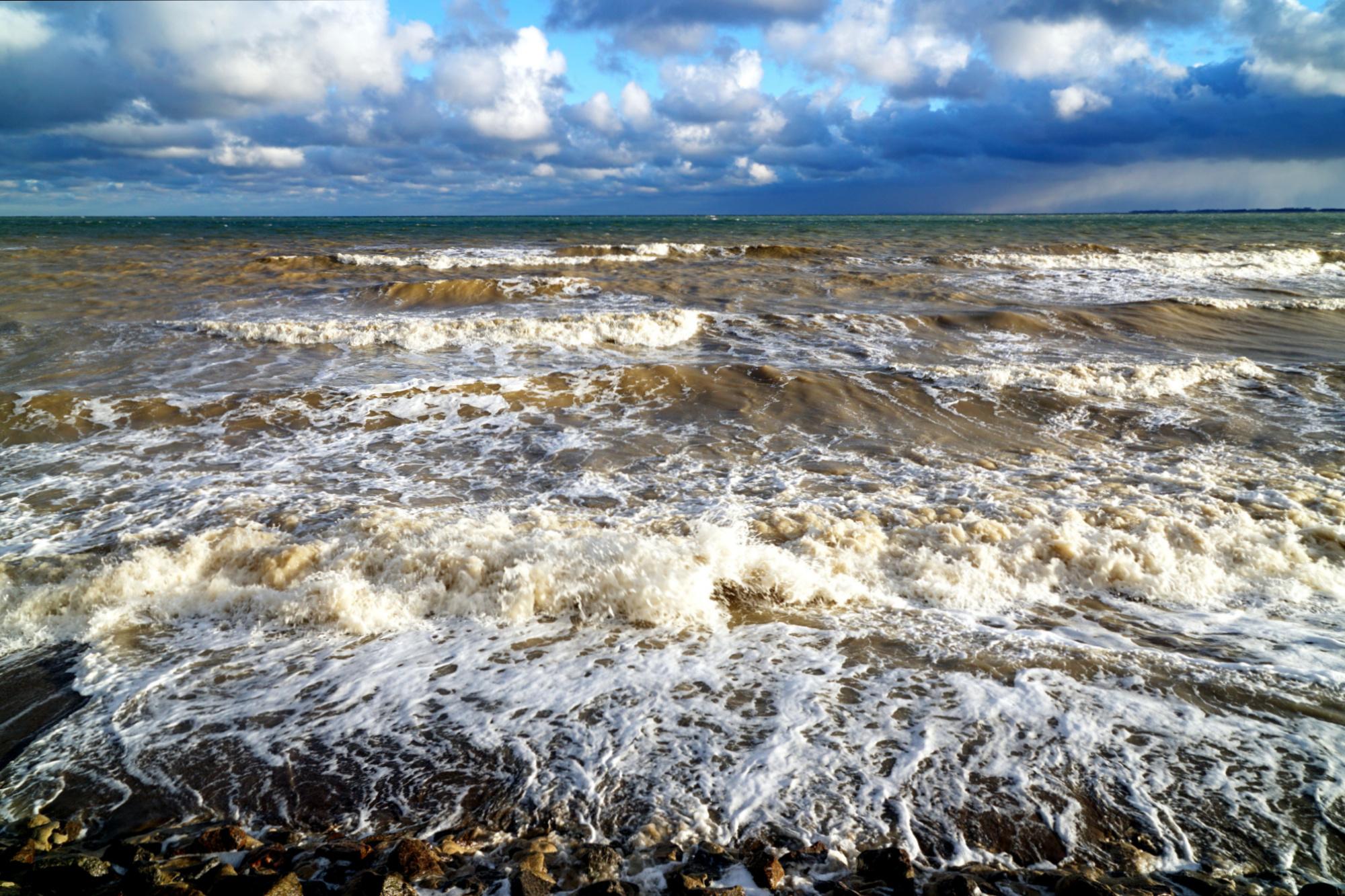 Sturmhochwasser an der Ostsee, Strand in Redewisch